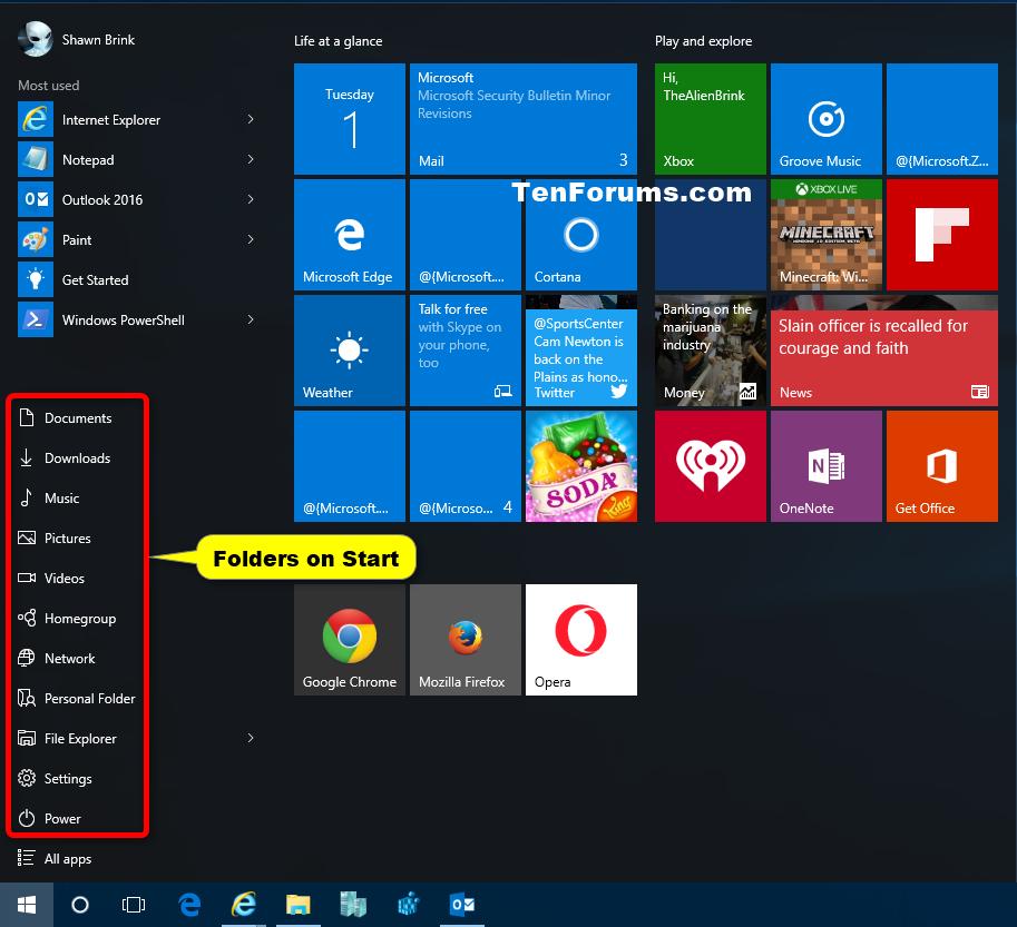 how to change default folder for windows 10