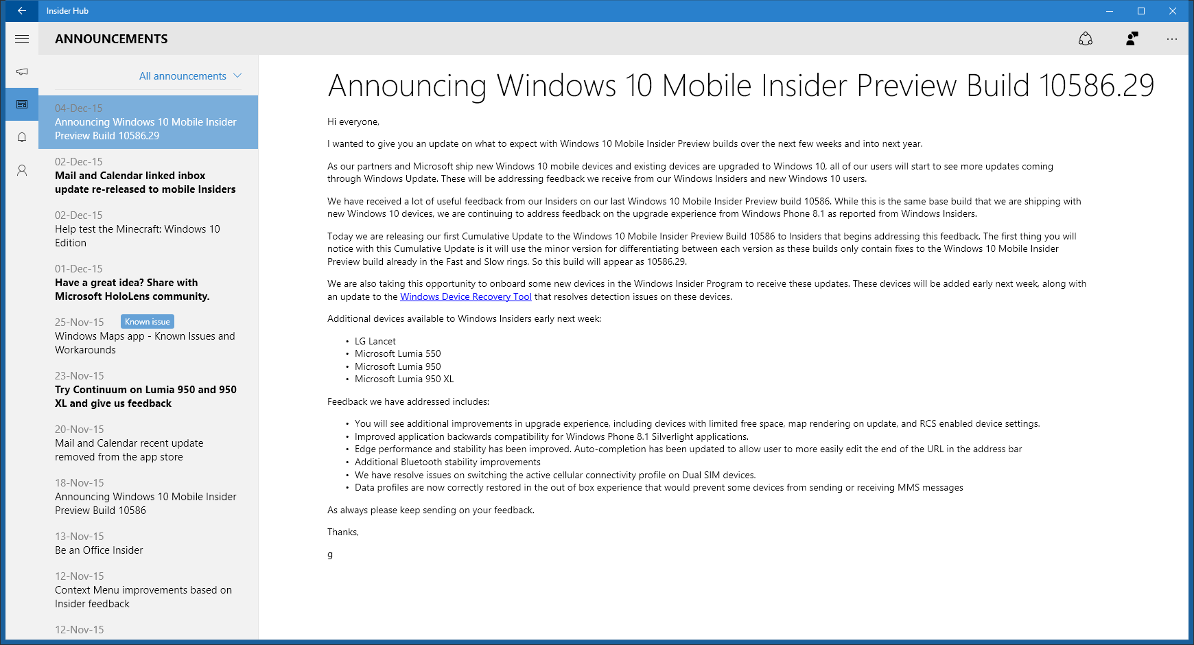 Windows 10 Mobile Insider Preview for Phones - Update to - Windows 10 ...