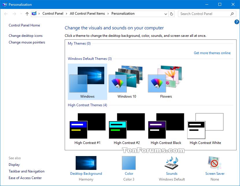 how to change windows 8 color scheme to default