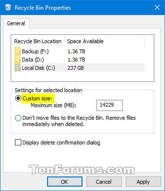 Set Recycle Bin to Permanently Delete Files Immediately in