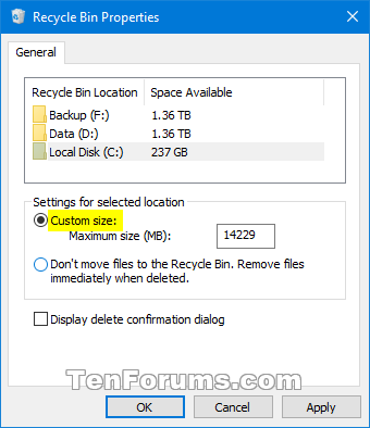 Name Recycle Bin Max Storage Size 2 Png Views 5991 14 1 Kb