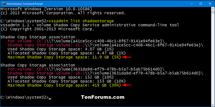 Click image for larger version.  Name:vssadmin_list_shadowstorage.png Views:258 Size:97.1 KB ID:53134
