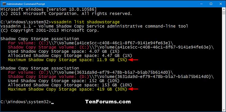Click image for larger version.  Name:vssadmin_list_shadowstorage.png Views:395 Size:97.1 KB ID:53134