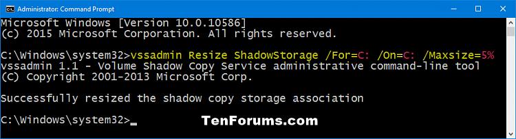 Click image for larger version.  Name:vssadmin_resize_shadowstorage_percentage.png Views:203 Size:21.5 KB ID:53136
