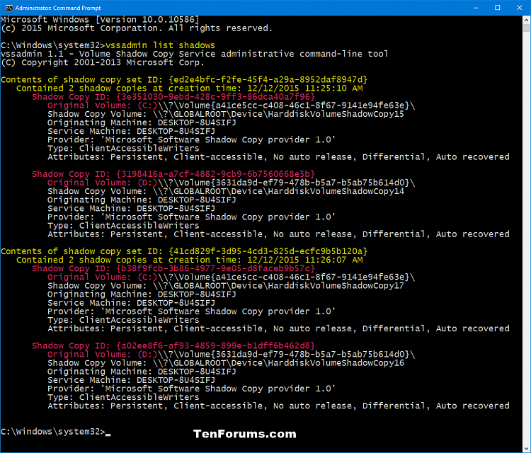 Click image for larger version.  Name:vssadmin_list_shadows.png Views:106 Size:106.9 KB ID:53318
