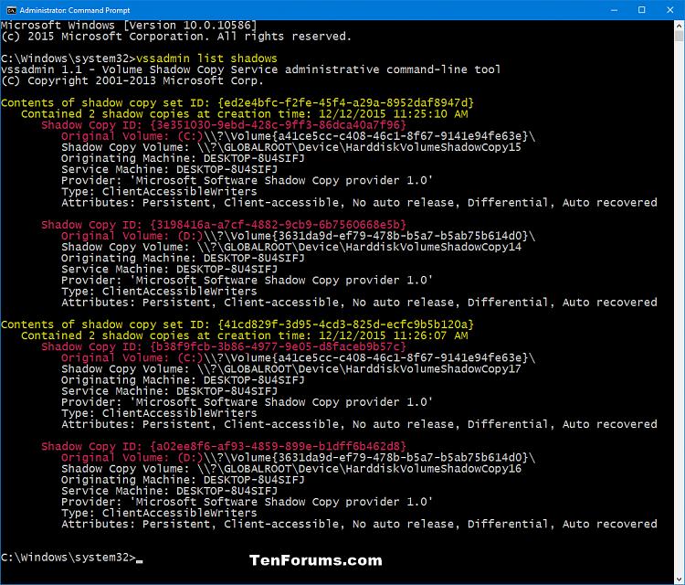 Click image for larger version.  Name:vssadmin_list_shadows.png Views:684 Size:106.9 KB ID:53318
