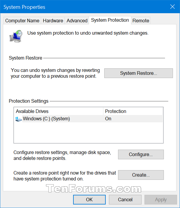 Create system protection shortcut in windows 10 windows 10 tutorials name systemprotectioninsystempropertiesg views 1925 size 332 kb create system protection shortcut in windows 10 ccuart