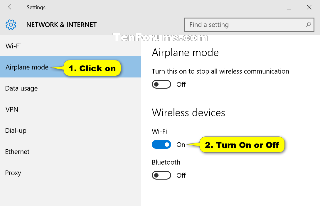 How To Turn On Or Off Wi Fi Communication In Windows 10 Tutorials