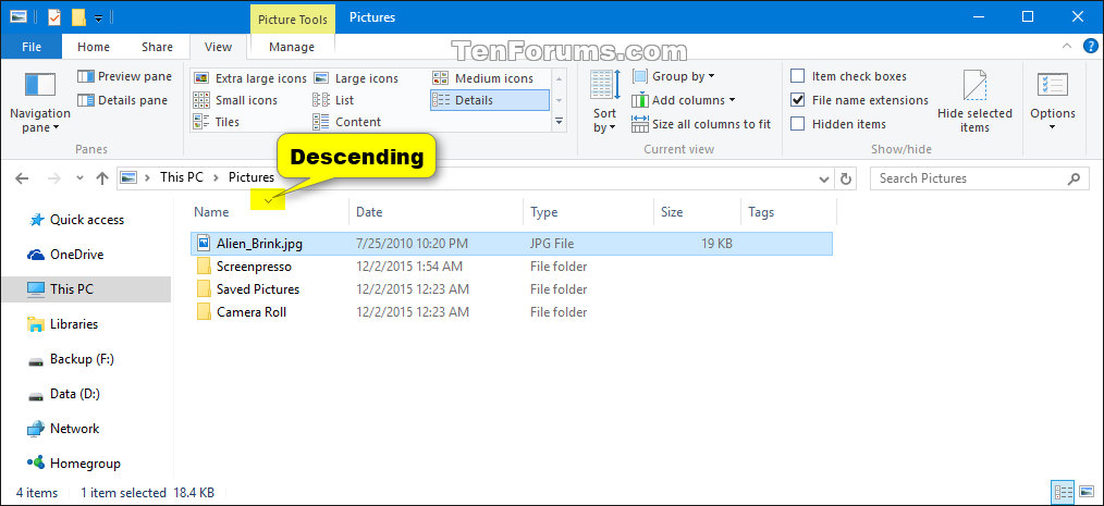 how to change view in mail windows 10