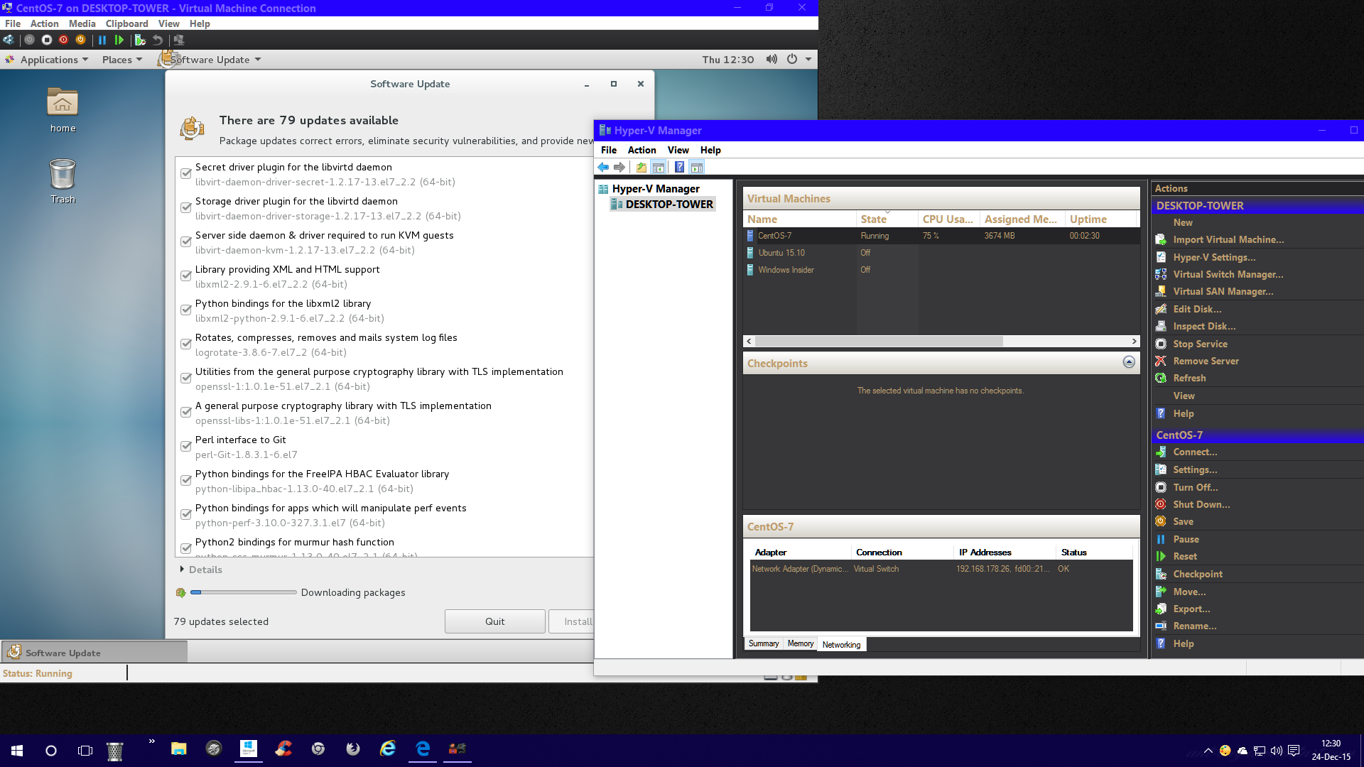 php 7 installer centos sur hyper-v