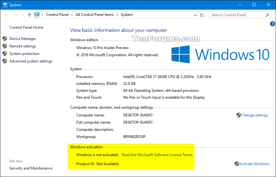 product key of windows 10