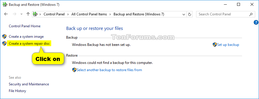 create windows 10 repair disk for another computer