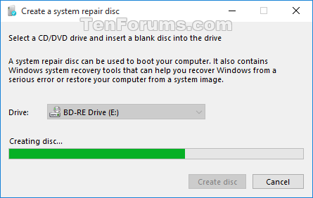 how to create repair disk for windows 10