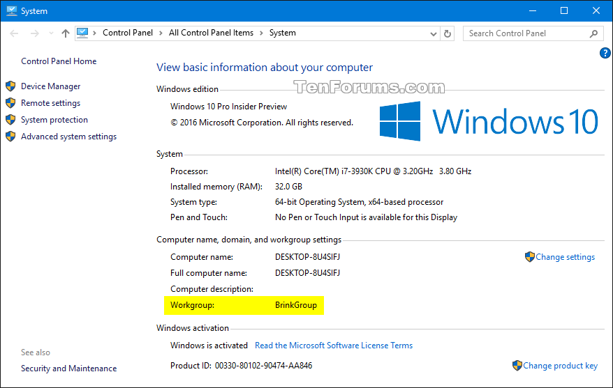 Change Workgroup in Windows 10 | Tutorials