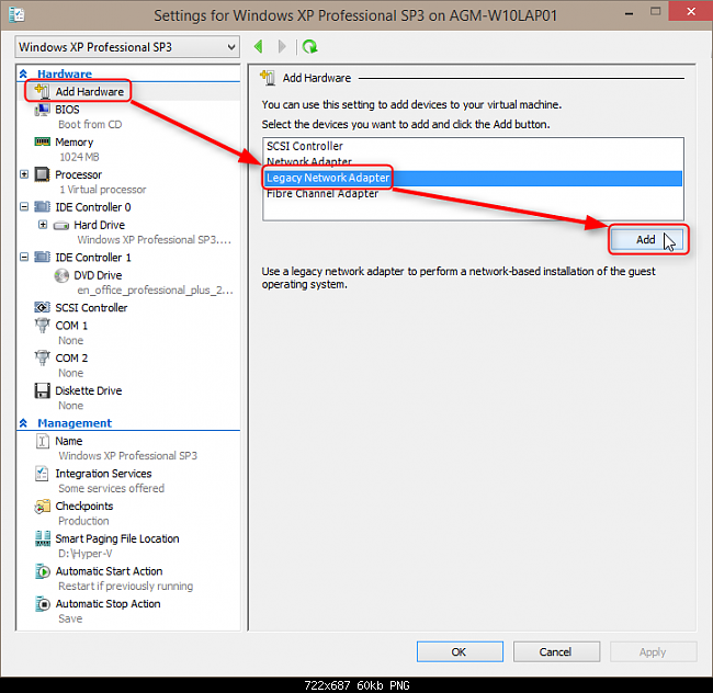 hyper v machine network adapter not connected