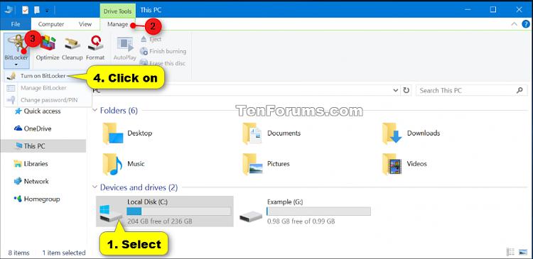 how to turn on bitlocker in windows 8