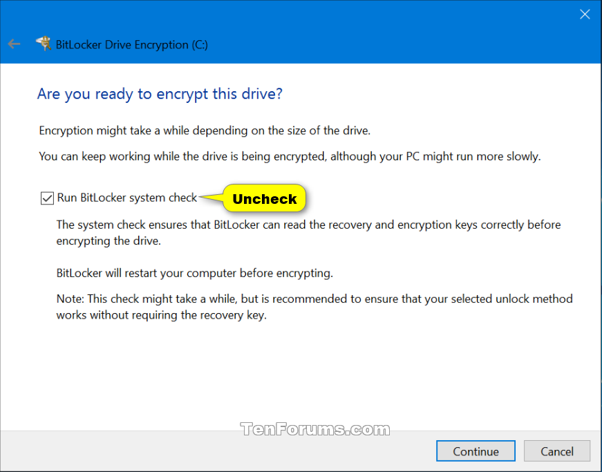 Turn On or Off BitLocker for Operating System Drive in