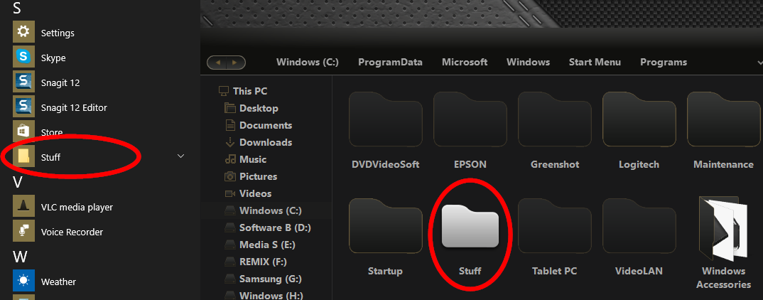 how to put a folder in a folder windows