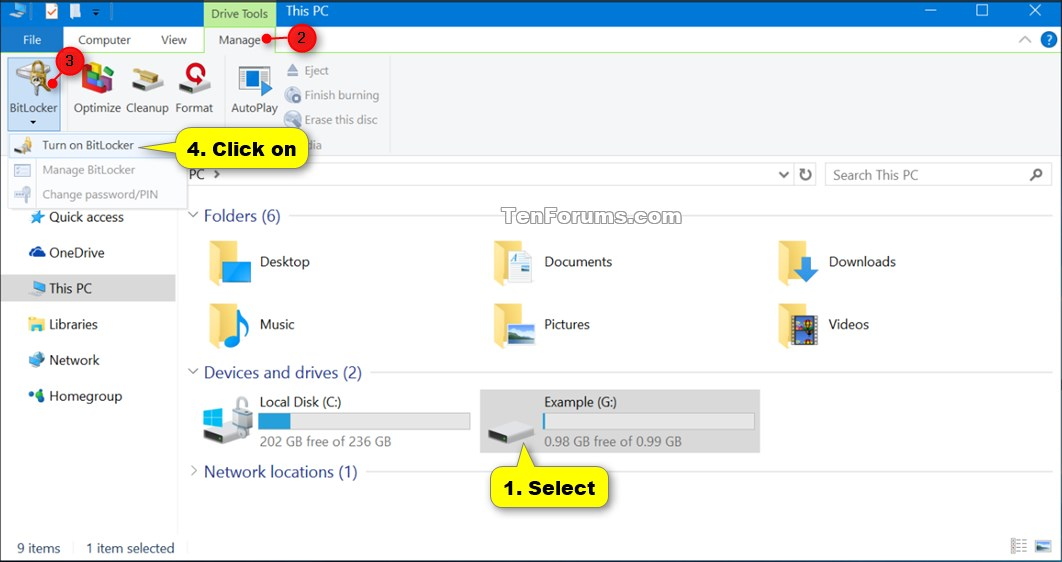 Turn On or Off BitLocker for Fixed Data Drives in Windows 10