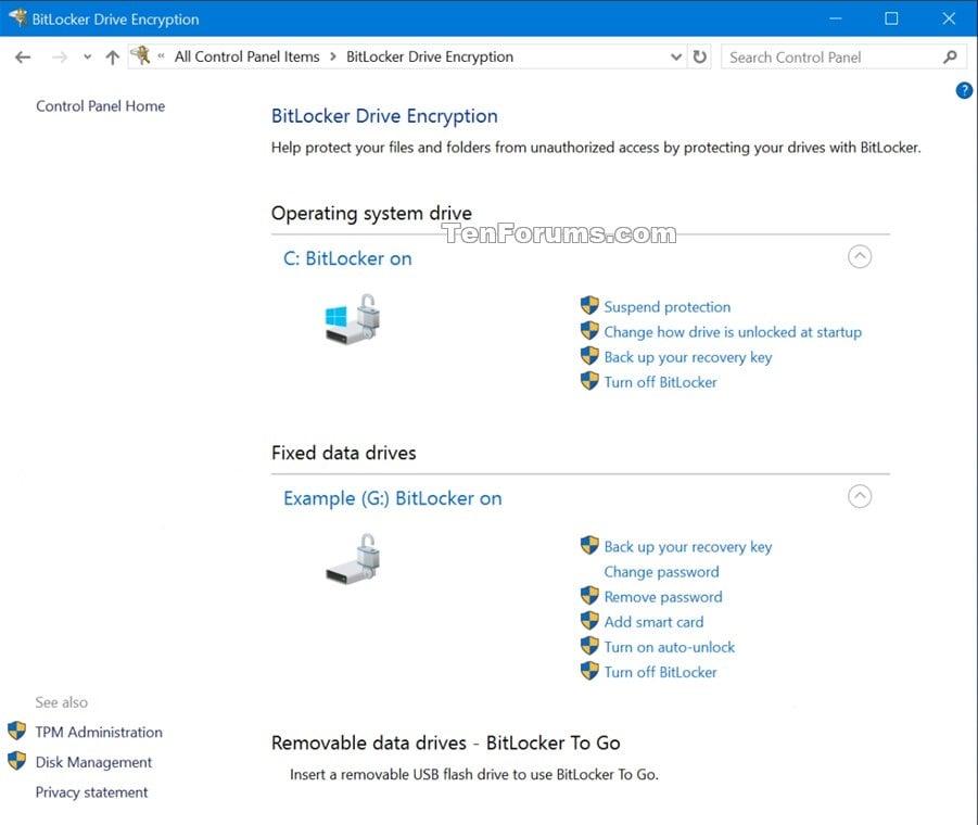 Create BitLocker Drive Encryption Shortcut in Windows 10