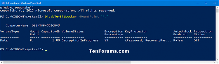 Click image for larger version.  Name:Turn_off_BitLocker_PowerShell.png Views:1125 Size:21.0 KB ID:59000