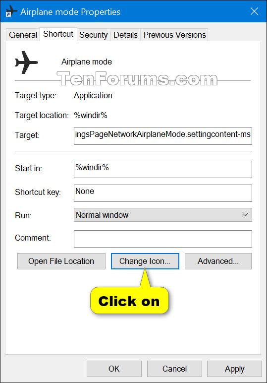 Create Airplane Mode shortcut in Windows 10 | Tutorials