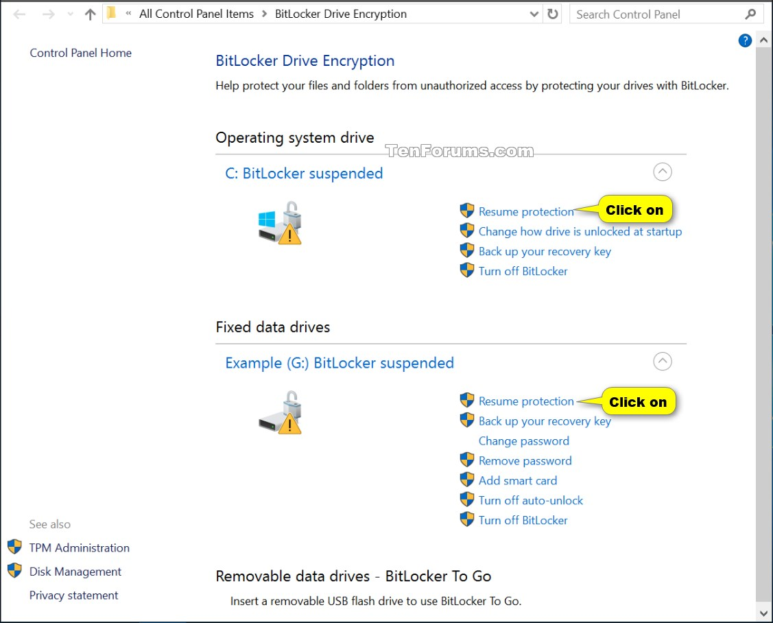 Click image for larger version. Name: Resume_BitLocker_protection-1.jpg  Views: 879. Suspend or Resume BitLocker ...