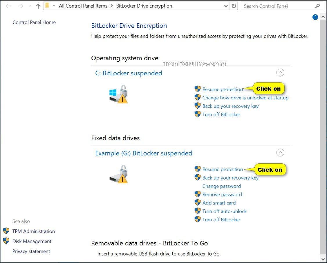 Suspend or Resume BitLocker Protection for Drive in Windows 10 ...