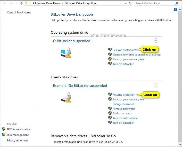 suspend or resume bitlocker protection for drive in