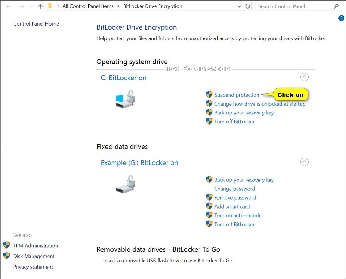 suspend or resume bitlocker protection for drive in windows 10