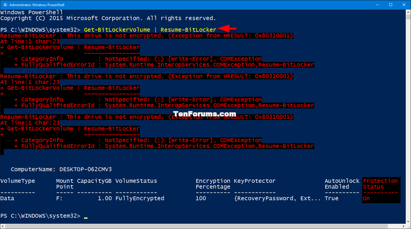 bitlocker protection suspend or resume for drive in