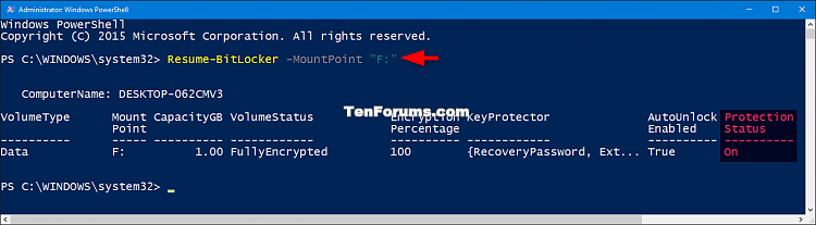 Click image for larger version.  Name:Resume_BitLocker_protection_for_drive_PowerShell.png Views:621 Size:30.7 KB ID:60507