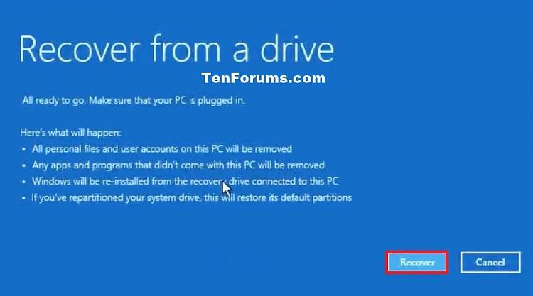 recover windows 10 from recovery usb