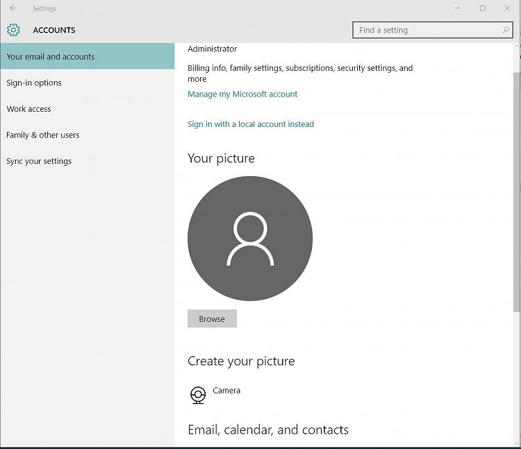 how to change picture of account in windows 10