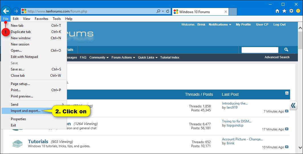 Import or Export Internet Explorer Favorites with HTM in Windows 10 |  Tutorials