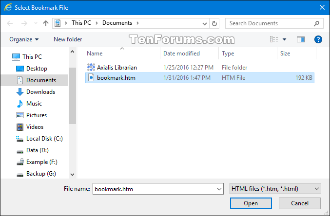 Import or Export Internet Explorer Favorites with HTM in