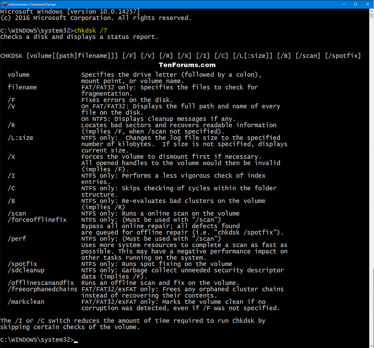 Click image for larger version.  Name:chkdsk_command.png Views:5783 Size:138.8 KB ID:64062