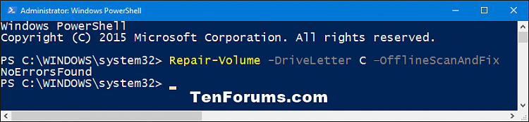 Click image for larger version.  Name:PowerShell_repair-volume_OfflineScanAndFix.png Views:376 Size:13.9 KB ID:64067