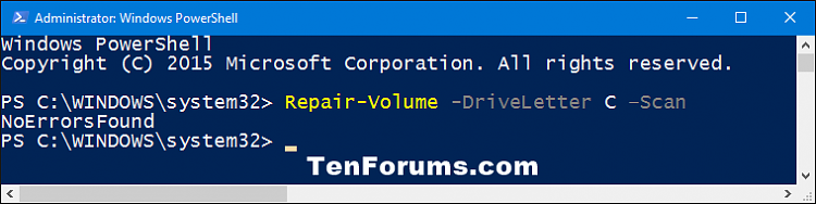 Click image for larger version.  Name:PowerShell_repair-volume_scan.png Views:396 Size:13.1 KB ID:64068