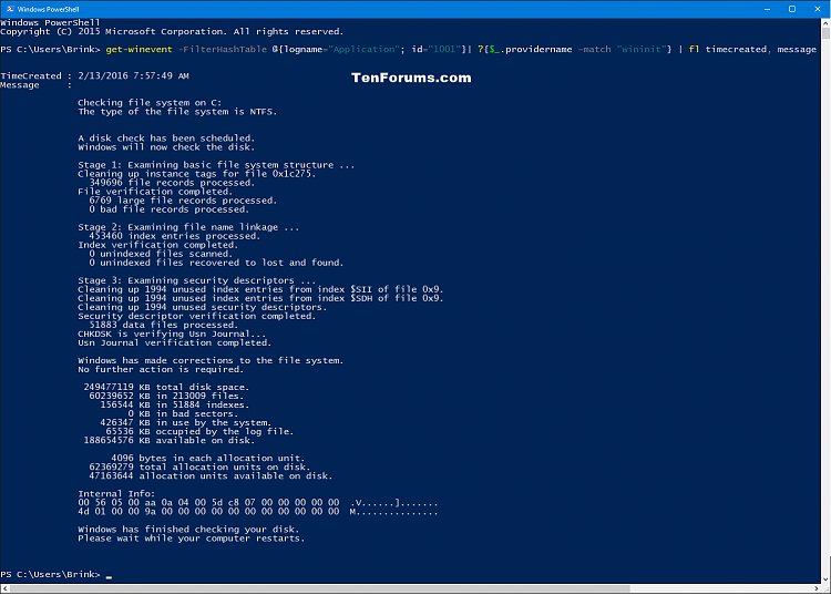 Read Chkdsk Log in Event Viewer in Windows 10-chkdsk_results_powershell-2.png