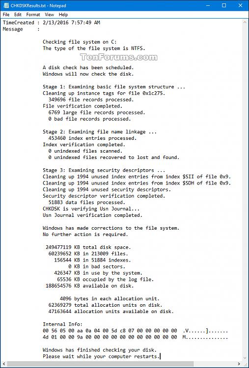 Click image for larger version.  Name:CHKDSKResults.png Views:396 Size:56.0 KB ID:64212