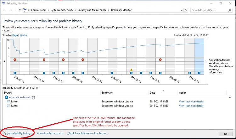 Click image for larger version.  Name:reliability monitor.JPG Views:188 Size:177.2 KB ID:64698