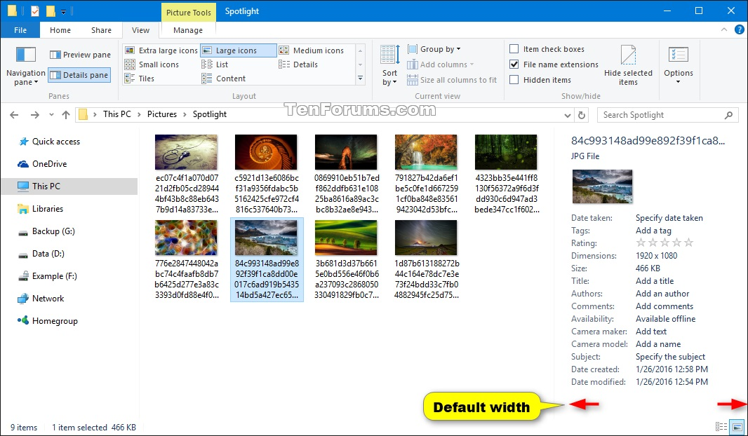 Reset Details and Preview Pane Width Size in Windows 8 and
