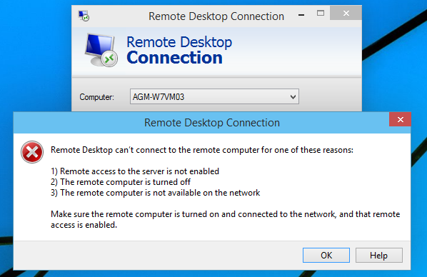 remote access to the server is not enabled windows 10