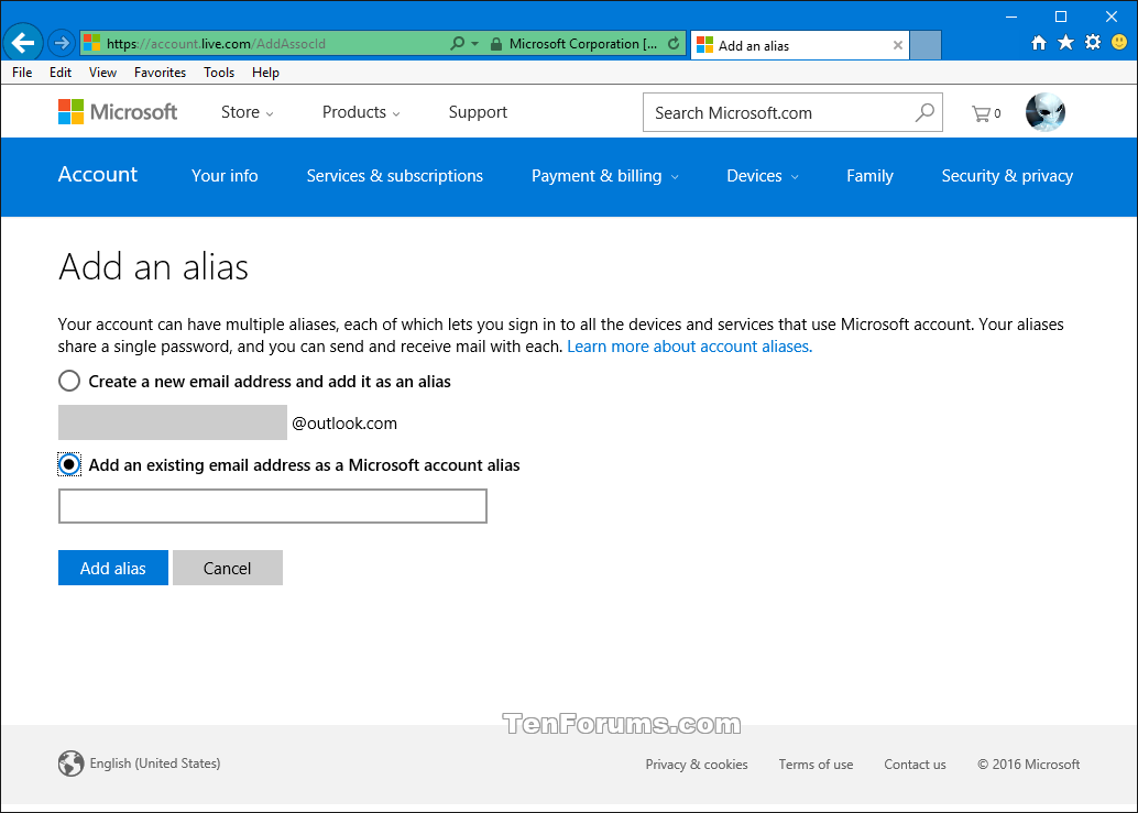 how to add another account microsoft outlook