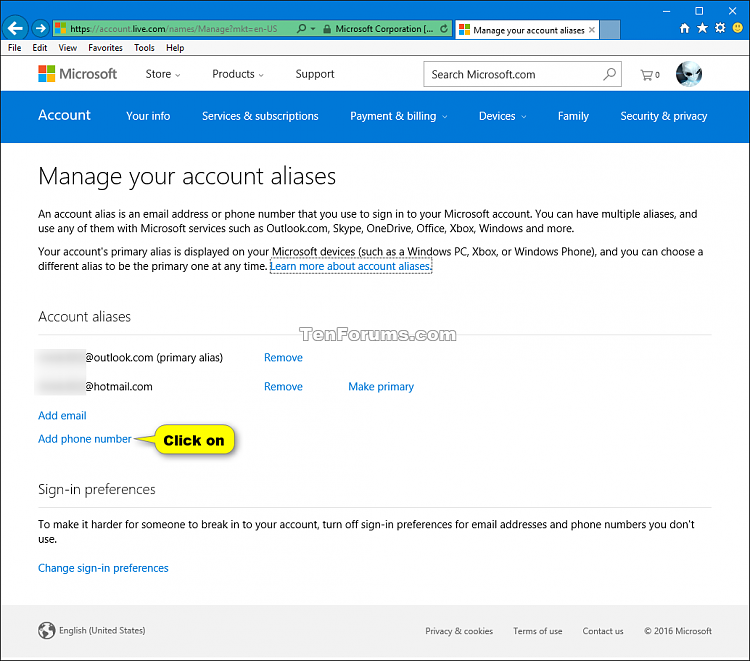 account microsoft update country region