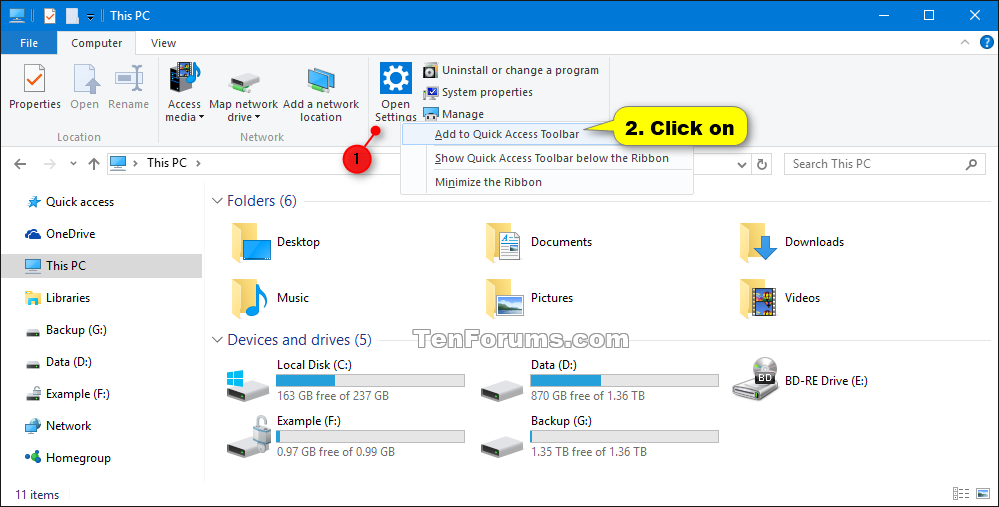 Add or Remove Quick Access Toolbar Items in Windows 10 File Explorer
