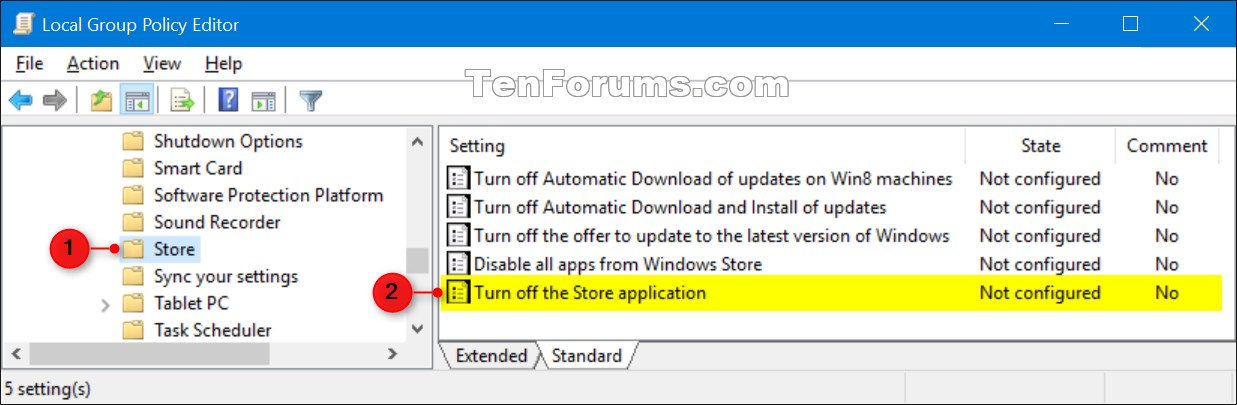 Allow or Block Access to Microsoft Store App in Windows 10