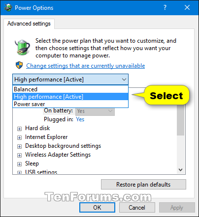 Reset and Restore Power Plans to Default Settings in Windows