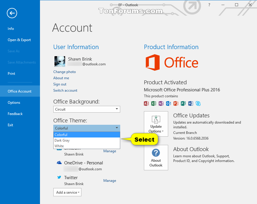 change theme of office 2016 for windows tutorials